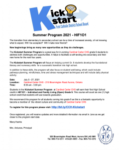Cardinal Carter CHS Kick Start Program Summer 2021